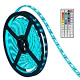 LED Lights Strip,Oak Leaf SMD5050 Waterproof 16.4ft RGB Led Strip Lighting with 44 Key IR Remote Control For For Gardens/ Homes/ Kitchen/ Cars/ Bar