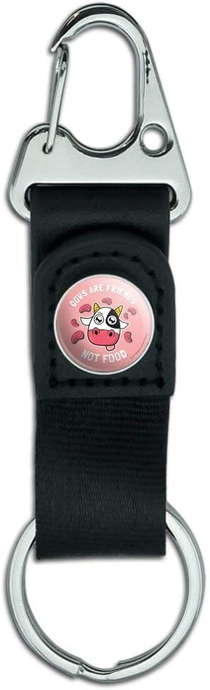Cows are Friends Not Food Vegan Vegetarian Funny Humor Keychain with Leather Fabric Belt Clip-On Carabiner
