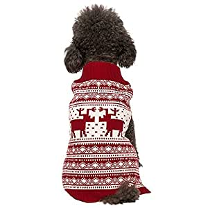 "Blueberry Pet 6 Patterns Vintage Festive Red Ugly Christmas Reindeer Holiday Festive Dog Sweater, Back Length 10"", Pack of 1 Clothes for Dogs"