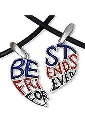 Dark - Red, Blue & Black - TWO HEARTS - Best Friends Necklace - BFF - 2-Piece Pewter Friendship Jewelry Set