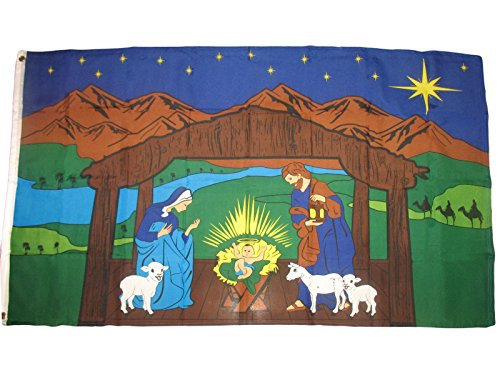 mws NATIVITY SCENE FLAG Christian Baby Jesus Religion 3'X5' House Banner Grommets Double Stitched Fade Resistant Premium Quality
