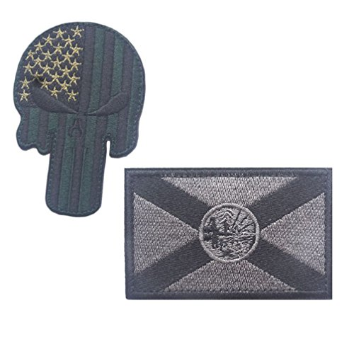 Embroidery USA Florida State Flag and Punisher Tactical Patches (3