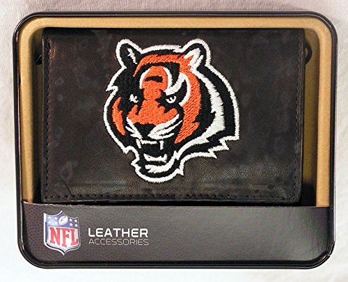 Cincinnati Bengals Embroidered Leather - Cincinnati Bengals Embroidered Leather Tri-Fold Wallet