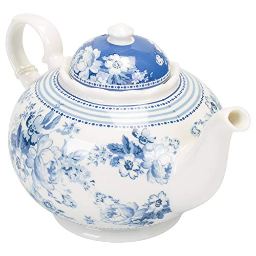Delton Products English Blue 9.5 inches x 5.6 inches Porcelain Tea Pot in Gift Box - Delton Teapot