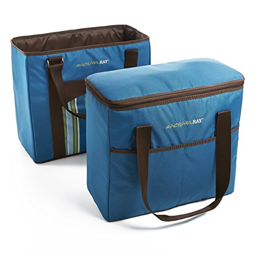 Rachael Ray ChillOut 2 Go Totes, Matching Set of 2 Insulated Tote Bags for Shopping/Entertaining, Marine Blue Stripe