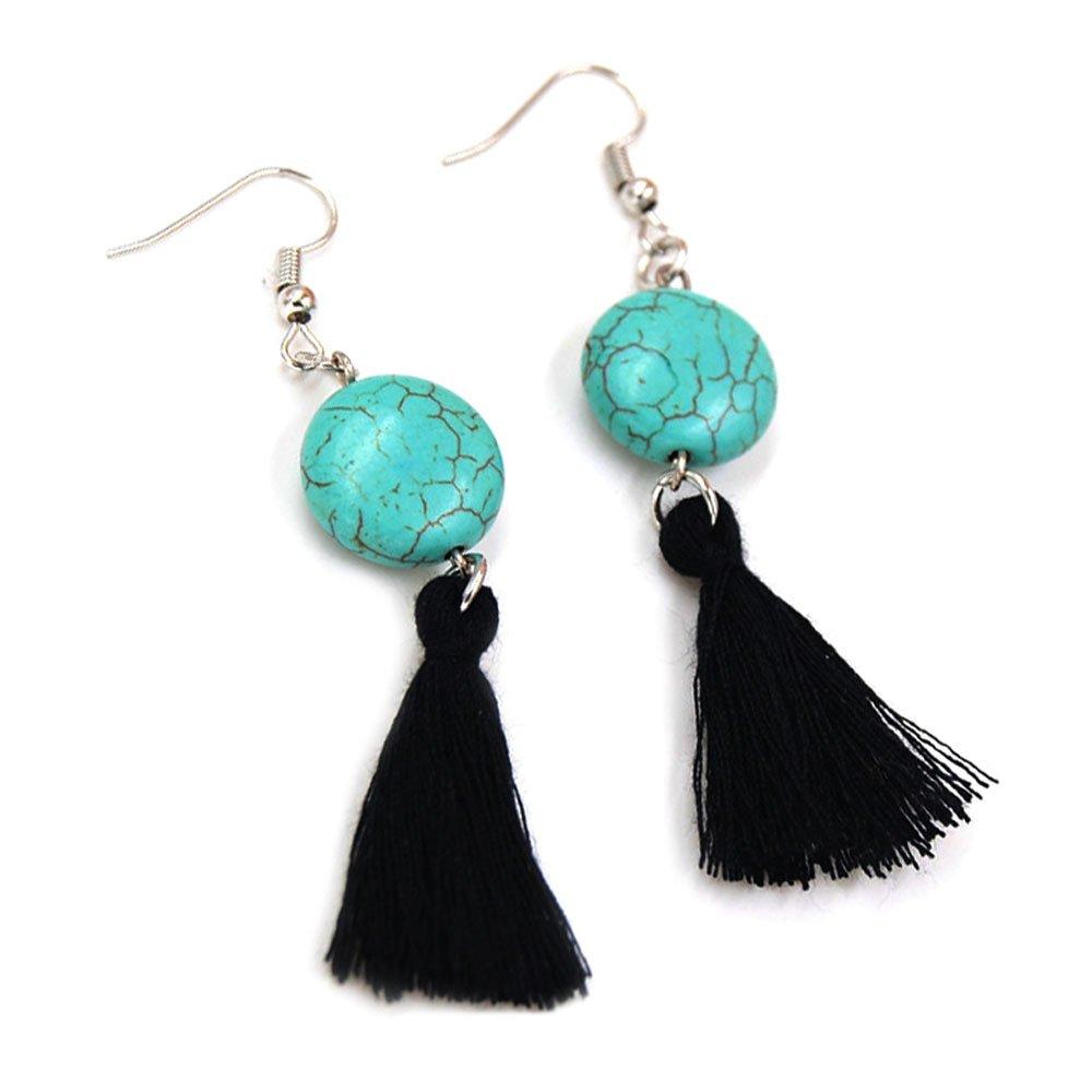 3b760eb37 Amazon.com: SUNGULF Bohemia Tassel Earrings Handwork Turquoise Tassel Drop  Dangle Earrings for Women (Black): Jewelry