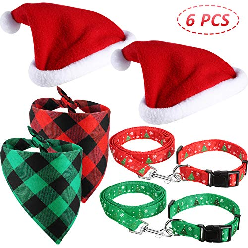 6 Pieces Christmas Dog Bandana Dog Santa Hat Plaid Bibs Scarf and Pet Collar with Leash Pet Christmas Decorations…