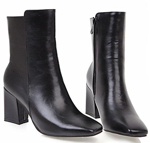 Aisun Womens Simple Chic In Zip Up Vierkante Teen Slofjes Blok Mid-heels Enkellaarsjes Met Rits Zwart