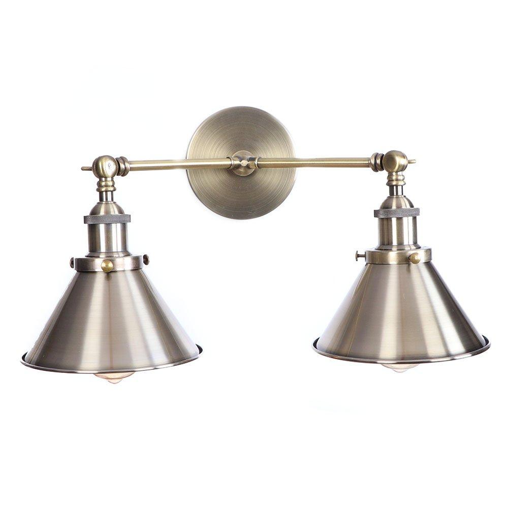 Amerikanischen Stil Vintage Loft Nordic Einfachheit Wandlampen Wandleuchten Wohnzimmer Schlafzimmer Nachttischlampe Metall Eisen Kunst Doppelkopf Wandleuchte,Bronze