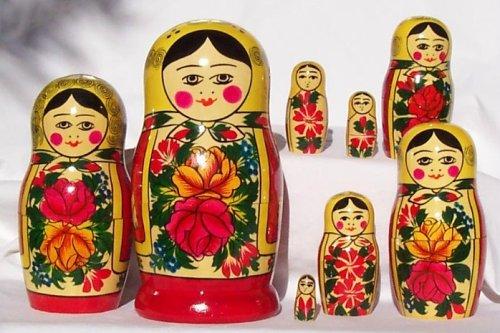 Russian Traditional 8 Pc/8 in Nesting Doll Semenovo S-108