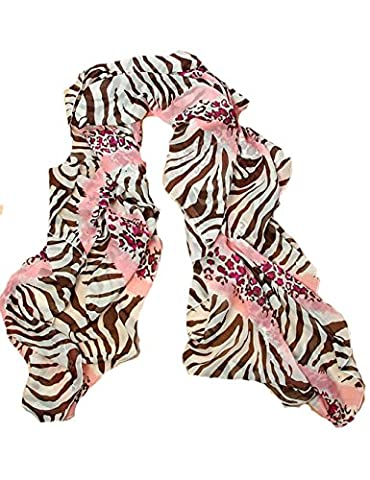 Pink Ladies Fashion Leopard Pattern Animal Print Shawl Scarf Wrap