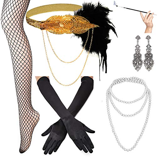 KaKaxi 1920s Accessories Set - Headband,Necklace,Gloves,Cigarette Holder and Feather boa,A ()