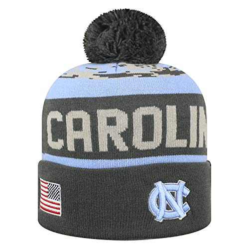 Top of the World NCAA-Salute to USA Military-Cuffed Knit Pom Beanie Hat-North Carolina Tar Heels