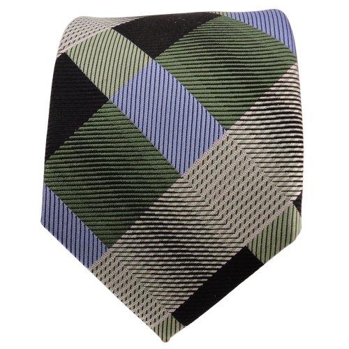 TigerTie Designer cravate en soie vert bleu noir à carreaux - cravate en soie silk