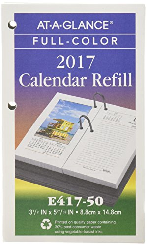AT-A-GLANCE Daily Desk Calendar 2017 Refill, Photographic, 3-1/2 x 6