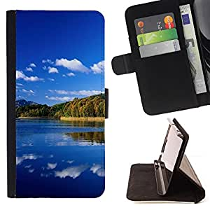 DEVIL CASE - FOR LG Nexus 5 D820 D821 - Nature Great Lake - Style PU Leather Case Wallet Flip Stand Flap Closure Cover