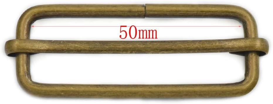 Fujiyuan 12 pcs 50mm Metal Adjuster Triglides Slides Webbing Buckle Belt Strap Srtip Bronze