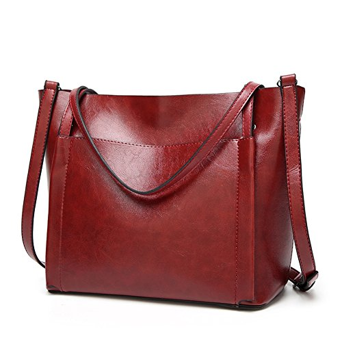Fayland Women Stylish Leather Hobo Handbags Large Capicity Messenger Shoulder Bag Satchel Tote Bags Wine Red by Fayland