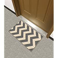 Kapaqua Rubber Backed Mat 18 x 31 Rich Chevron Grey & Ivory Zig Zag Doormat Accent Non-Slip Rug - Rana Collection Kitchen Dining Living Hallway Bathroom Pet Entry Rugs RAN2064-12