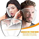 Succper Mouth Shields Set with Anti Fog Shields and Reusable Glasses All-Round Protection Cap with Clear Wide Visor Spitting Anti-Fog Lens Lightweight Transparent Shield with for Men Women