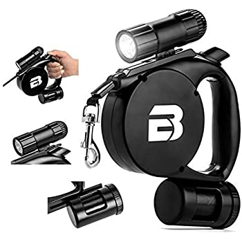 3 in 1 Retractable Dog Leash (With LED Light + Bag Dispenser) - These Durable, Thick & Adjustable 15 Foot Leashes are The Best for Training, Walking, Jogging- Small, Medium, or Large, Strong Dogs ...