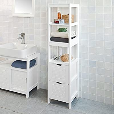 Haotian FRG126-W, White Floor Standing Tall Bathroom Storage Cabinet with 3 Shelves and 2 Drawers,Linen Tower Bath Cabinet, Cabinet with Shelf,30x30x144cm - White Floor Standing Tall Bathroom Storage Cabinet is perfect for your modern or traditional decor. It has 3 shelves and 2 drawers to provide you ample space for bathroom essentials. Material/Finish: White MDF. - shelves-cabinets, bathroom-fixtures-hardware, bathroom - 51GhiATwGrL. SS400  -
