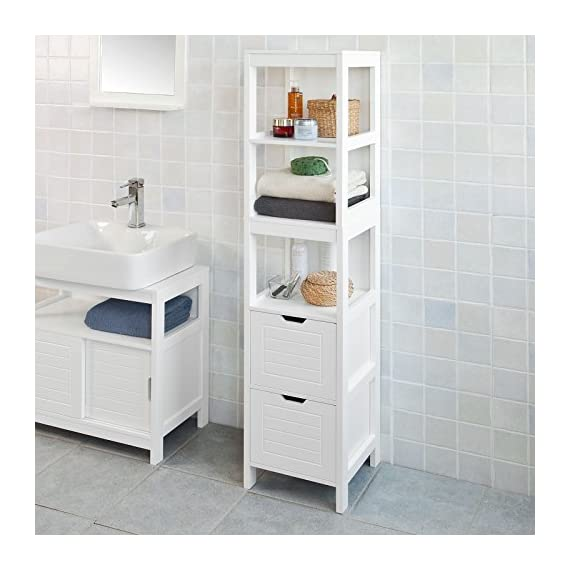 Haotian White Floor Standing Tall Bathroom Storage Cabinet with Shelves and Door,Linen Tower Bath Cabinet, Cabinet with Shelf (FRG126-W) - White Floor Standing Tall Bathroom Storage Cabinet is perfect for your modern or traditional decor. It has 3 shelves and 2 drawers to provide you ample space for bathroom essentials. Material/Finish: White MDF. - shelves-cabinets, bathroom-fixtures-hardware, bathroom - 51GhiATwGrL. SS570  -