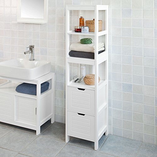 Haotian FRG126-W,White Floor Standing Tall Bathroom Storage Cabinet with 3 Shelves and 2 Drawers,Linen Tower Bath Cabinet, Cabinet with ()