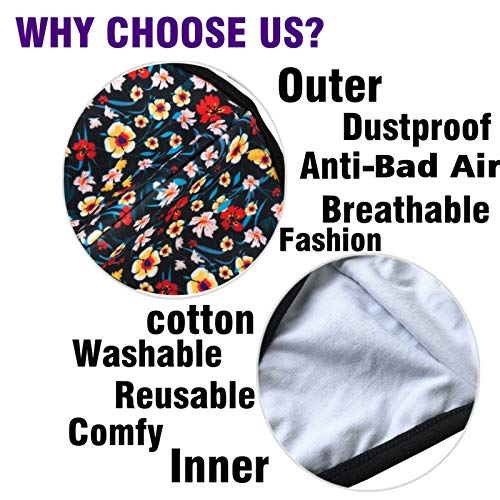 Pack 3 Fashion Floral Reusable Face Protections for Cycling Camping Travel - Women Men