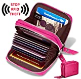 Image of Women's Genuine Leather RFID Secure Spacious Cute Zipper Card Wallet Small Purse (Rose)
