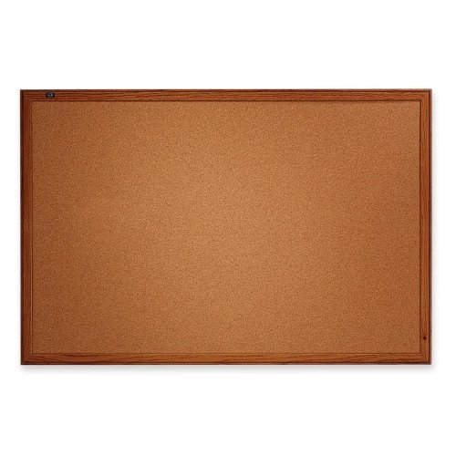 Wholesale CASE of 5 - Quartet Economy Oak Frame Cork Boards-Cork Board, 3'x2', Oak Finish Frame Economy Oak Frame Cork Boards