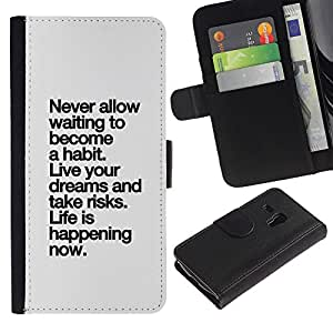 A-type (Habit Life Happening Black Grey Inspiring) Colorida Impresión Funda Cuero Monedero Caja Bolsa Cubierta Caja Piel Card Slots Para Samsung Galaxy S3 MINI 8190 (NOT S3)