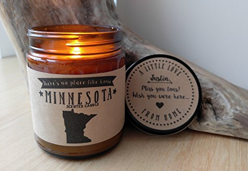 Minnesota Scented Candle Missing Home Homesick Gift Moving Gift New Home Gift No Place Like Home State Minnesota Gift Valentines Day Gift