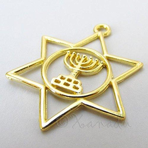 Star Of David And Jewish Menorah Gold Tone Charm Pendants C2198 - 5, 10, 20PCs Jewelry Making Supply Pendant Bracelet DIY Crafting by Wholesale Charms