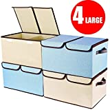 """Larger Storage Cubes [4-Pack] Senbowe Linen Fabric Foldable Collapsible Storage Cube Bin Organizer Basket with Lid, Handles, Removable Divider For Home, Office, Nursery, Closet - (17.7 x 11.8 x 9.8"""")"""