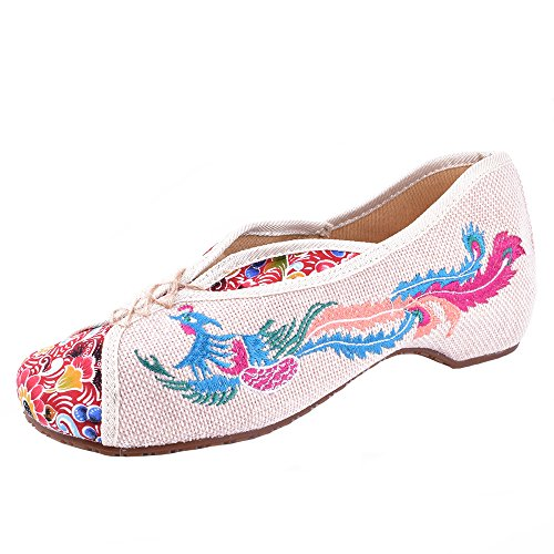 Vintage Embroidery Shoes Cancas Flats Phoenix Embroidered Comfortable Old Beijing Dance Singles Shoes (EU 38, Beige)