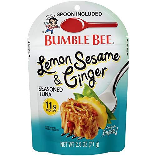 Bumble Bee Tuna Pouches, Lemon Sesame & Ginger Seasoned Tuna Pouch, 2.5 Ounce (Pack of 12) (Tuna Creations Lemon)