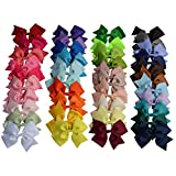 ShungFun 4'' Hair Bow Clips Grosgrain Ribbon Hair Barrettes Pony Hair Accessories for Baby Girls Keens 41Pcs
