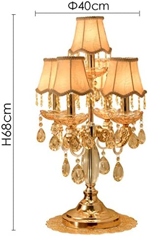 @Uncle Sam LI Glod Crystal Table Lamp with Lampshade, E14×5/110V, European Luxury Palace Villa Table Light Decoration Home Decorative Lights