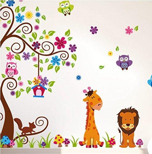 1 X Jungle Zoo Happy Owl, Lion with Giraffe Wall Decal for Kids, Nursery Room Baby Zoo Wall