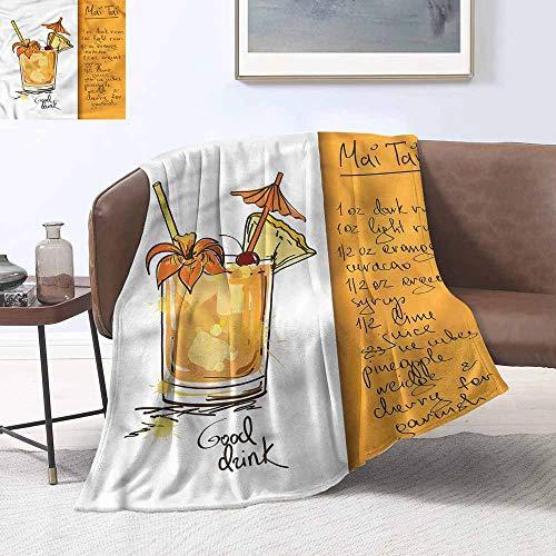 HCCJLCKS Hypoallergenic Blanket Tiki Bar Mai Tai Cocktail Recipe Sofa Chair W54 xL84 Traveling,Hiking,Camping,Full Queen,TV,Cabin]()