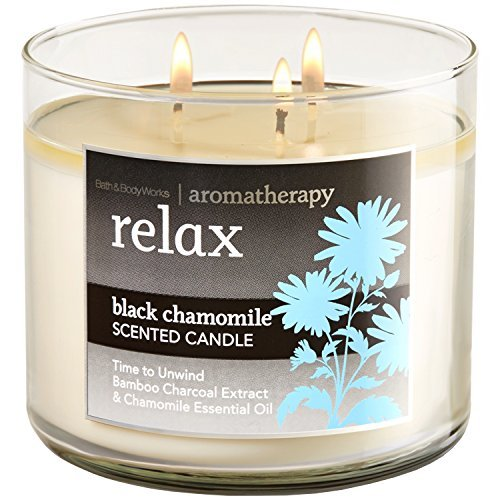 Bath and Body Works 3-wick Limited Edition Candle AROMATHERAPY COLLECTION (Relax - Black Chamomile) (Black Chamomile)
