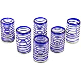 NOVICA Artisan Crafted Hand Blown Cobalt Blue Recycled Glass Spiral Glasses, 14 oz. 'Spirals Of Thought' (set of 6)