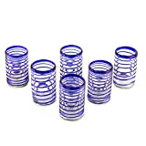 NOVICA 11462 'Spirals of Thought' Blown Drinking Glasses Set of 6, 5'' Tall, Blue