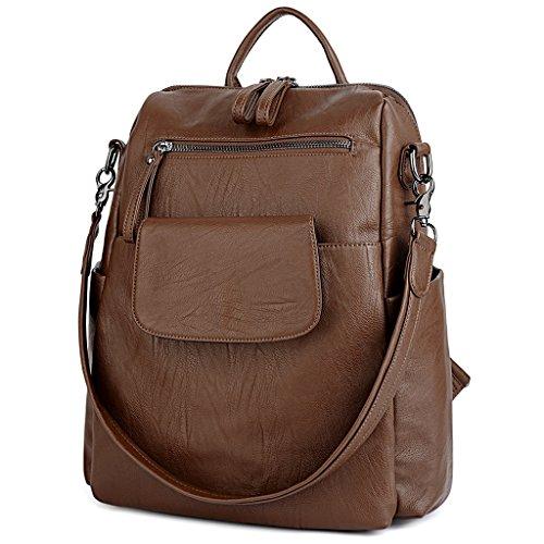 7463791de521 UTO Women Backpack Purse 3 ways PU Washed Leather Ladies Rucksack Shoulder  Bag Brown