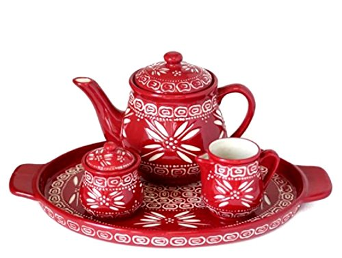 Temp-tations Carved Old World Cranberry 4-pc.Tea Pot Set ...