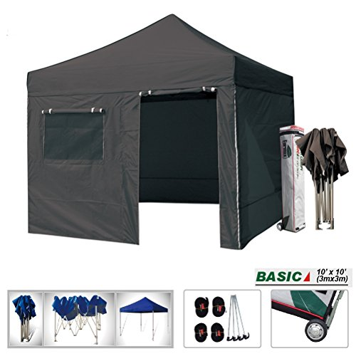 Eurmax Basic 10 X 10 Pop up Canopy Instant Outdoor Party Tent Shade Gazebo with 4 Removable Zipper End Sidewalls Bonus Wheeled Storage Bag (Black)