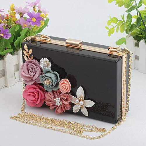 Clutch Prom Handbag Bags Wedding Flowers Evening Black EPLAZA Beaded Party Women For Acrylic Purse Bride Transparent 68WWnEzqw