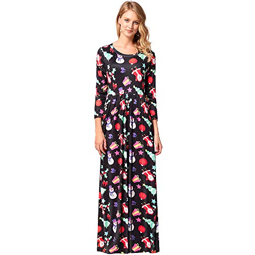Jupe Noel Robe Polyester Col Rond Impression Manche Longue Femelle 1200