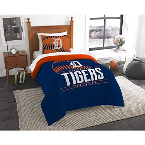 - 2 Piece MLB Tigers Comforter Twin Set, Baseball Themed Bedding Sports Patterned, Team Logo Fan Merchandise Athletic Team Spirit Fan, Blue Orange White, Polyester